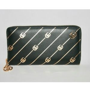 GUCCI DOUBLE G STRIPE LEATHER ZIP AROUND WALLET